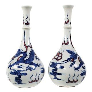 Pair Chinese Porcelain Bottle Vases, Kangxi Mark
