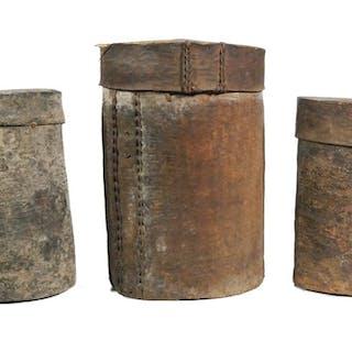 (3) Round Birchbark Boxes, Antique