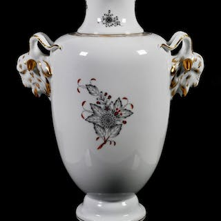 HEREND Rams Head Porcelain Vase