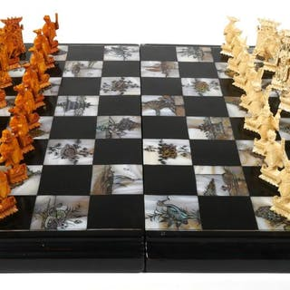 Chinese Ivory & MOP Chess Set