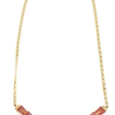 14K RUBY & DIAMOND Art Deco Necklace