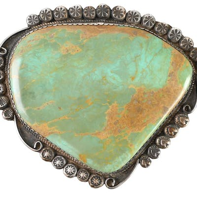 NAVAJO Sterling Silver Turquoise Pendant
