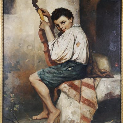 J.L. RONAY, Boy with Violin, Oil on Canvas