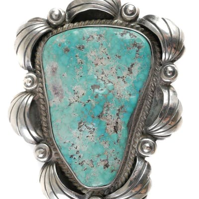 Signed Navajo Sterling & Turquoise Bolo Tie