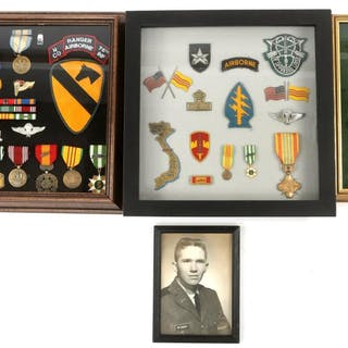 VIETNAM WAR SOLDIER'S FRAMED MEDAL GROUP