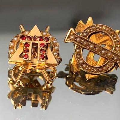 Two 10k gold Fraternal Pins w/ Seed Pearls