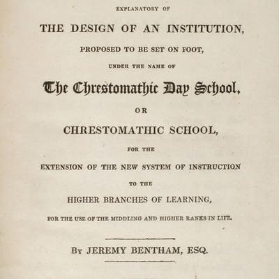 Bentham (Jeremy). Chrestomathia, 1st collected edition, 1816