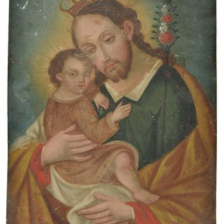 * Spanish Colonial School. Saint Joseph holding the infant C
