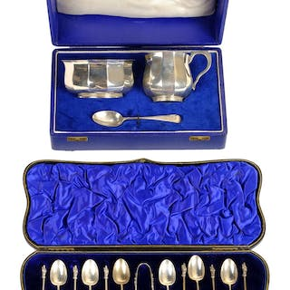 * Silver. An Edwardian silver christening set, by William Co