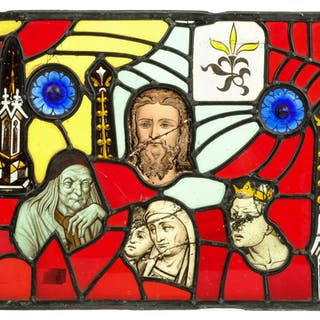 * Stained glass panel. A 19th century stained glass panel in