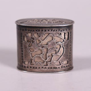 Chinese 19 C Silver Opium Box Bat Cage Sealer Cur S Barnebys