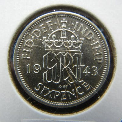 1943 Great Britain Silver 6 Pence. BU