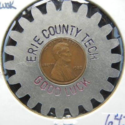 Erie County Ohio (Cleveland) 1980 Good Luck Encased Cent
