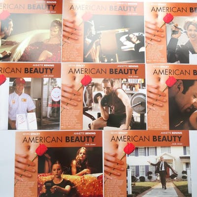 AMERICAN BEAUTY (1999) - SET OF 8 US LOBBY CARDS - Flat (as