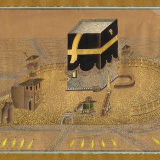 Arte islamica XIX secolo, Veduta de La Mecca con la Ka'ba.