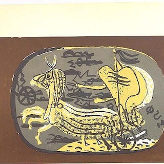 "BRAQUE ""CHARIOT"" ORIGINAL LITHO PRINTED BY MOURLOT (50%"