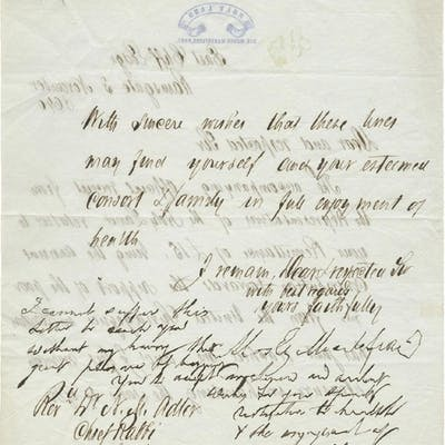 Letter by Moses Montefiore to the Chief Rabbi of Britain Nat
