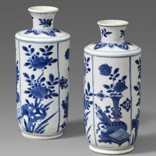 Two blue and white vases. Kangxi period (1662-1722)