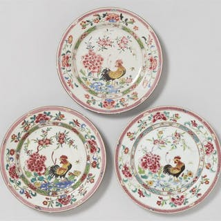 Three famille rose dishes. Qianlong period (1735-1796)