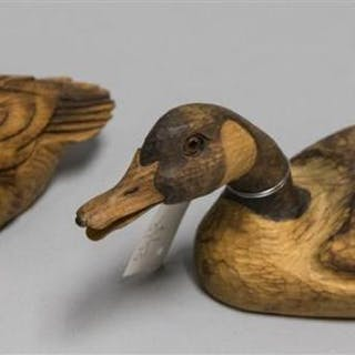 Two Hand Carved Decorative Duck Decoys Both Signed Weaver One