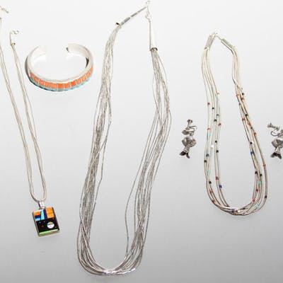 Selection of Sterling Silver Native American Jewelry