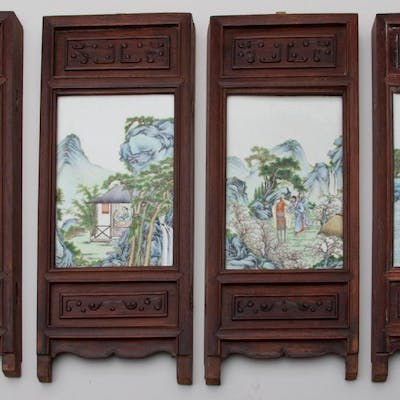 Set of Four Antique Chinese Porcelain Scenic Tiles