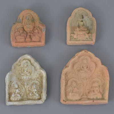 Four Chinese Song / Liao Dynasty Pottery Buddhist Amulets