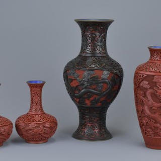 Four Early 20th century Chinese Lacquer Vases, 25cms high, 2