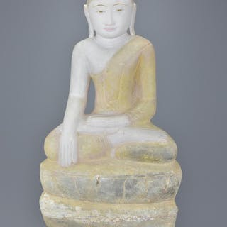 Burmese Marble Seated Buddha, 59cms high including Stand