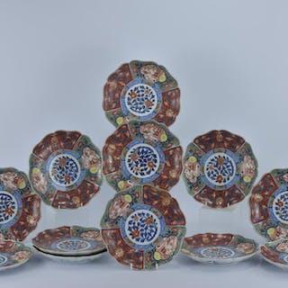 A Set of twelve Japanese Imari porcelain Dishes  Seal marks