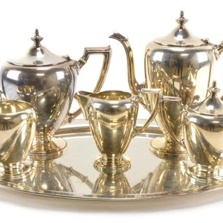 Fisher Sterling Silver Coffee And Tea Set With Sterling Serv