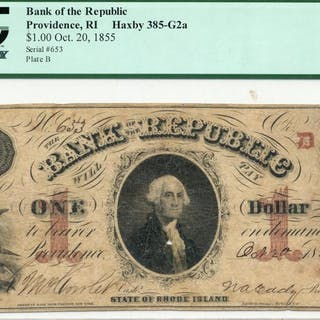 1855 $1.00 Bank Of The Republic Providence RI Note