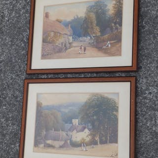 19thC School - a pair of watercolours - 'Gittisham', Devon.