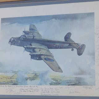 Of RAF interest; a colour print by Gleed depicting a Halifax of 138