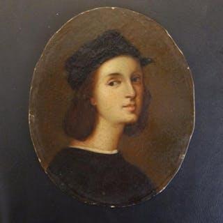 "After Corregio - an unframed oval 19thC oil portrait of Raphael, 5.1"" high."