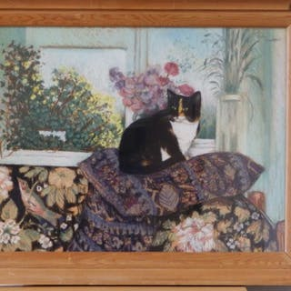 Paula Humphris - a modern pastel - 'Penny by a Window with Flowers'