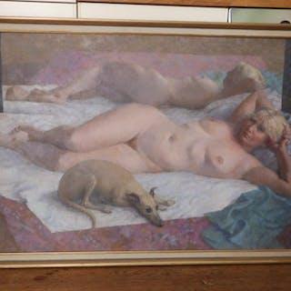 Ronald Benham RBA,NEAC (1915-1993)- oil on canvas - 'Nude With Attendant'