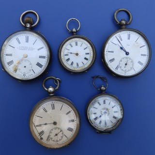Five silver pocket watches - a/f.