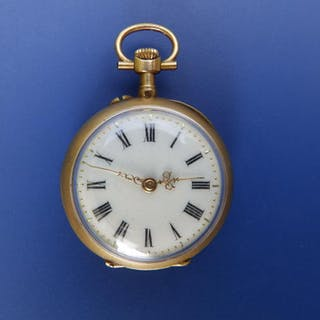 "A small diamond set lady's pocket watch - '81618'. 1"" diameter"