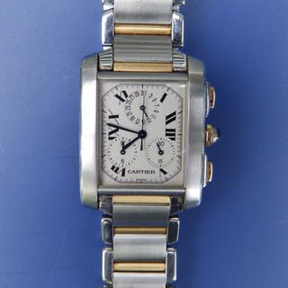 A gent's bi-metal Cartier bracelet wrist watch, the white rectangular