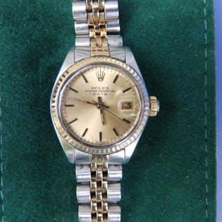A lady's bi-metal Rolex Oyster Datejust bracelet wrist watch, the
