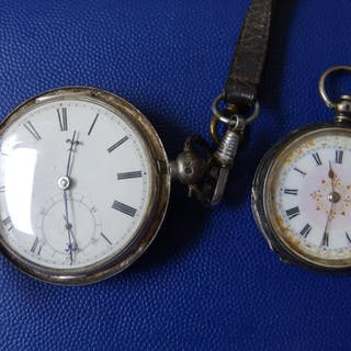 A silver hunter cased fusee pocket watch by Clare of Bedford - 85345