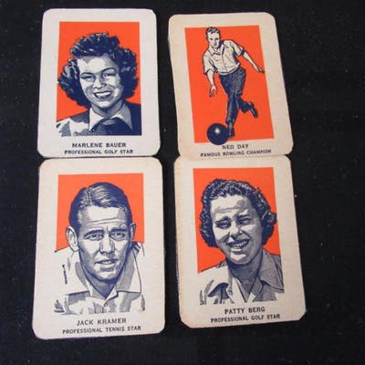 4 1952 Wheaties Golf, Tennis, Bowling Cards