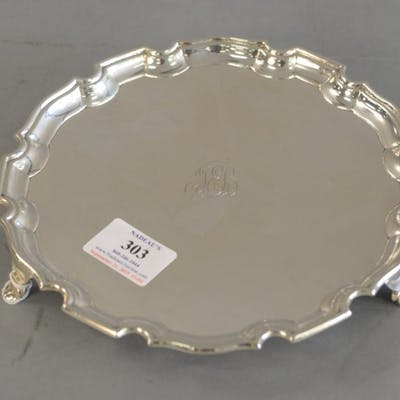 George V style Silver salver,scallop border engraved in the