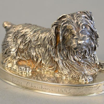 "English silver dog on oval base marked ""Lily Merry Christmas"