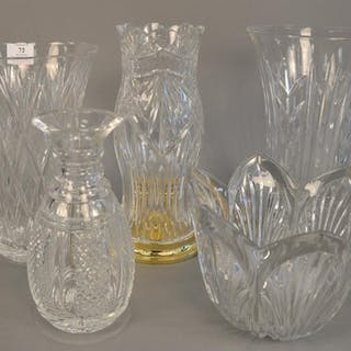 Five large crystal pieces to include Waterford decanters, la