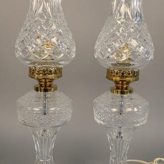 Pair of Waterford crystal table lamps with crystal shades. h