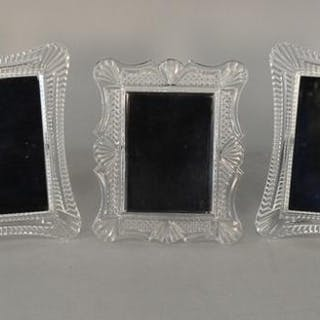 Group of 5 Waterford crystal picture frames in two styles. 7