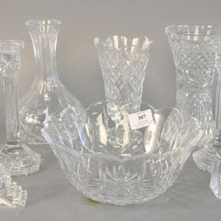 Eleven piece Waterford crystal lot to include pair of candle