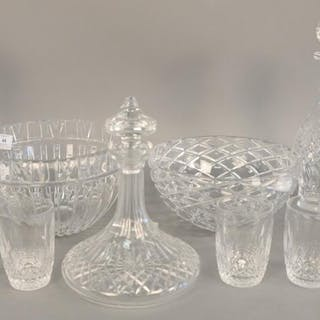 Eleven piece crystal lot to include four Waterford decanters
